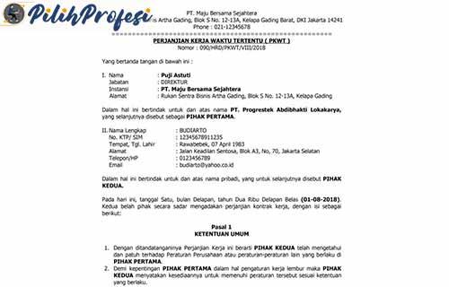 Contoh Surat Kontrak Kerja Karyawan 1