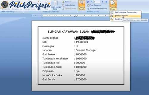 Finish Merge Print Document