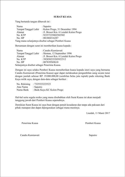 2. Surat Kuasa Pengambilan Gaji karena Resign