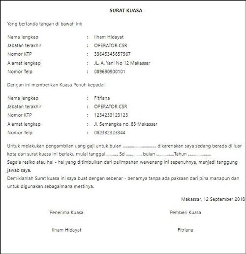 6. Contoh Surat Pengambilan Gaji Karena Dinas ke Luar Kota