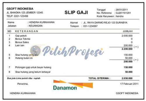 Slip Gaji Bank Danamon