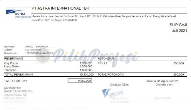 Slip Gaji PT Astra International